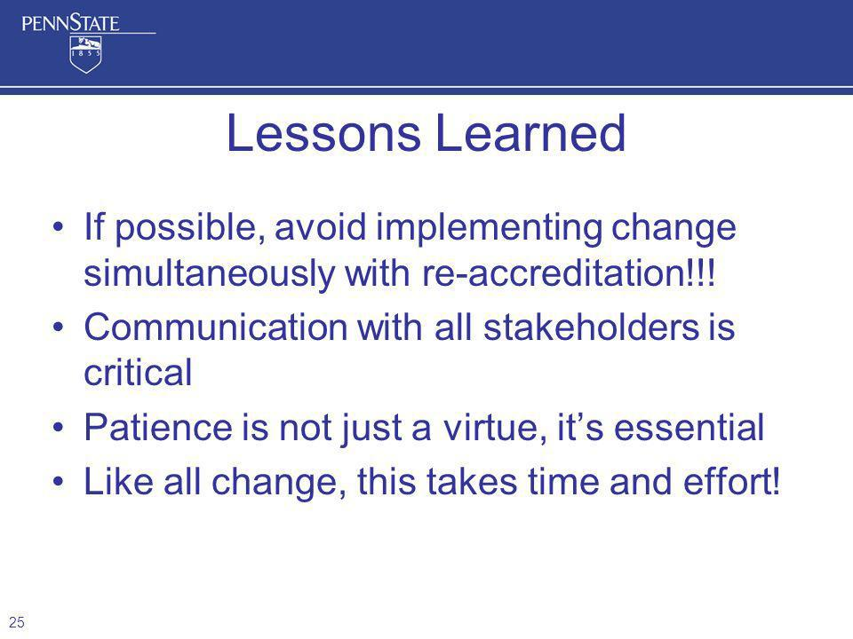 If possible, avoid implementing change simultaneously with re-accreditation!!! Communication with all stakeholders is critical Patience is not just a