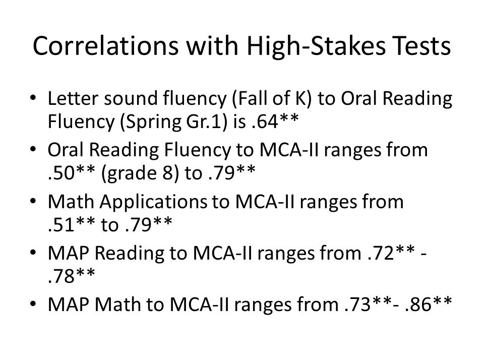 Correlations with High-Stakes Tests Letter sound fluency (Fall of K) to Oral Reading Fluency (Spring Gr.1) is.64** Oral Reading Fluency to MCA-II rang