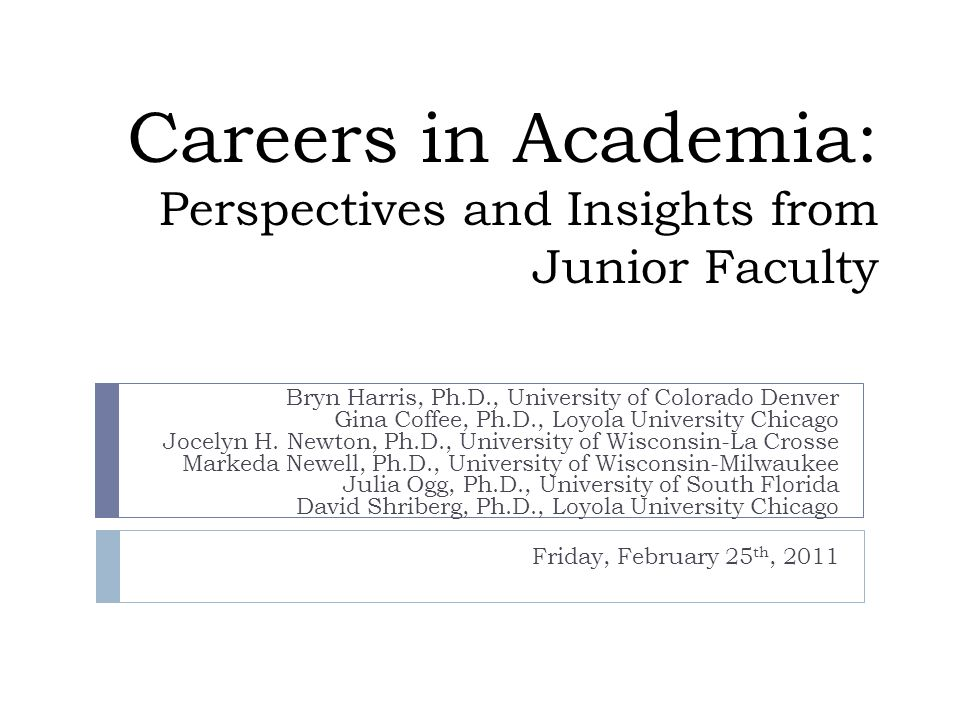 Organization of Presentation Perspectives from five junior faculty members Comments from more experienced faculty member moderator throughout Sections: Applying and Interviewing Research Teaching Service Questions?