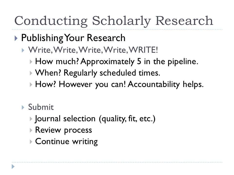 Conducting Scholarly Research Publishing Your Research Write, Write, Write, Write, WRITE.