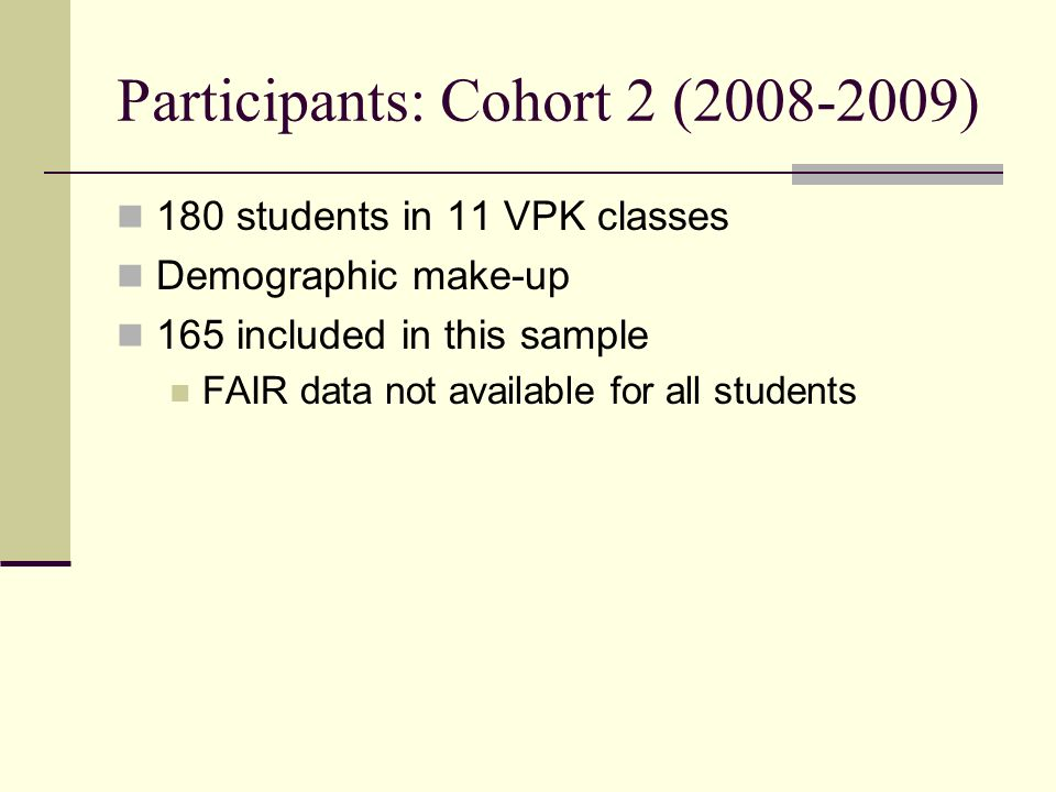 Participants: Cohort 2 (2008-2009) 180 students in 11 VPK classes Demographic make-up 165 included in this sample FAIR data not available for all stud