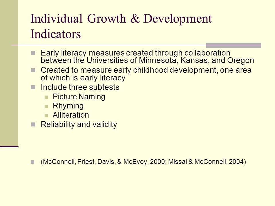 Individual Growth & Development Indicators Early literacy measures created through collaboration between the Universities of Minnesota, Kansas, and Or
