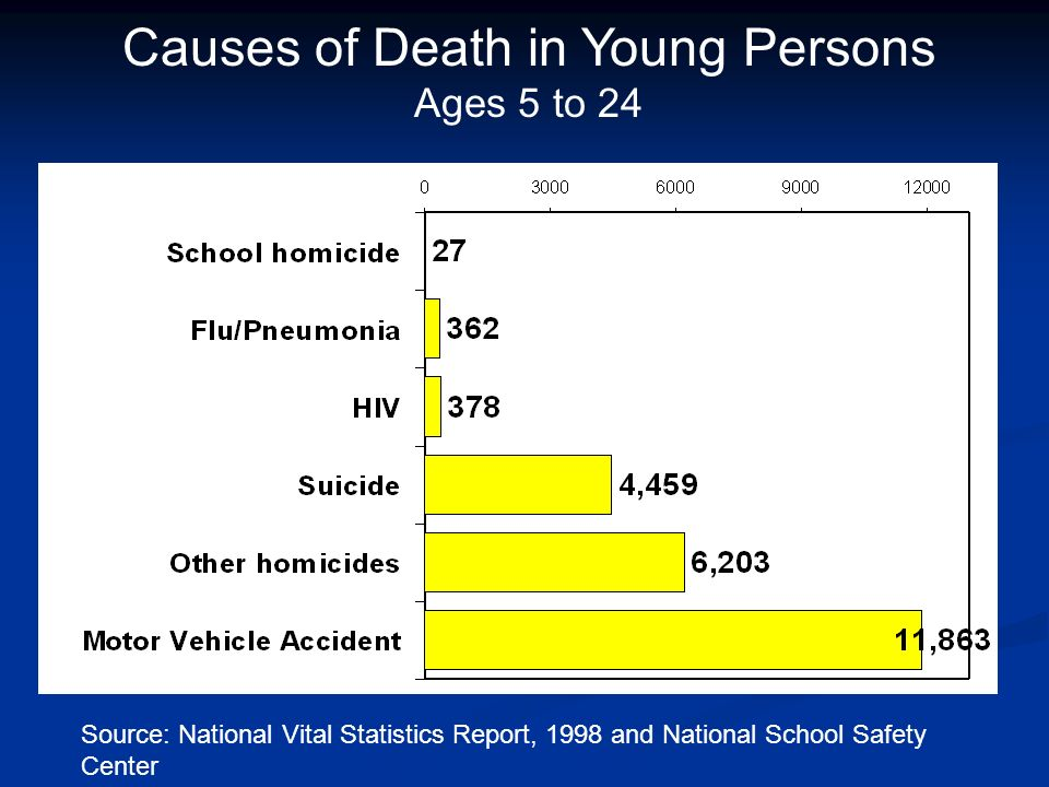 Source: National Vital Statistics Report, 1998 and National School Safety Center Causes of Death in Young Persons Ages 5 to 24