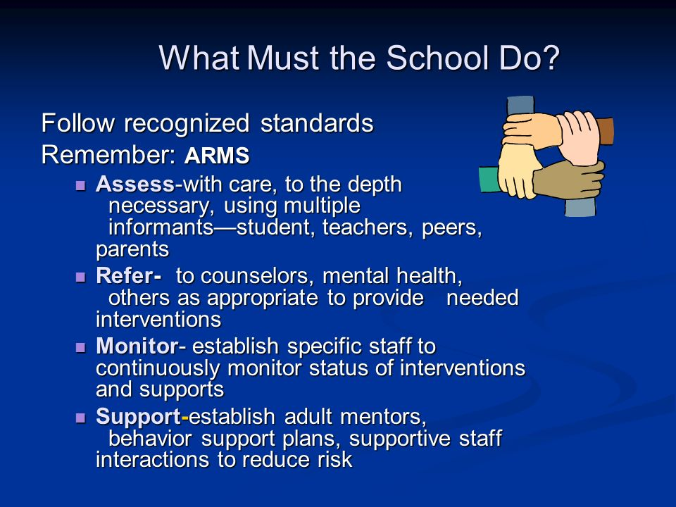 What Must the School Do? Follow recognized standards Remember: ARMS Assess-with care, to the depth necessary, using multiple informantsstudent, teache