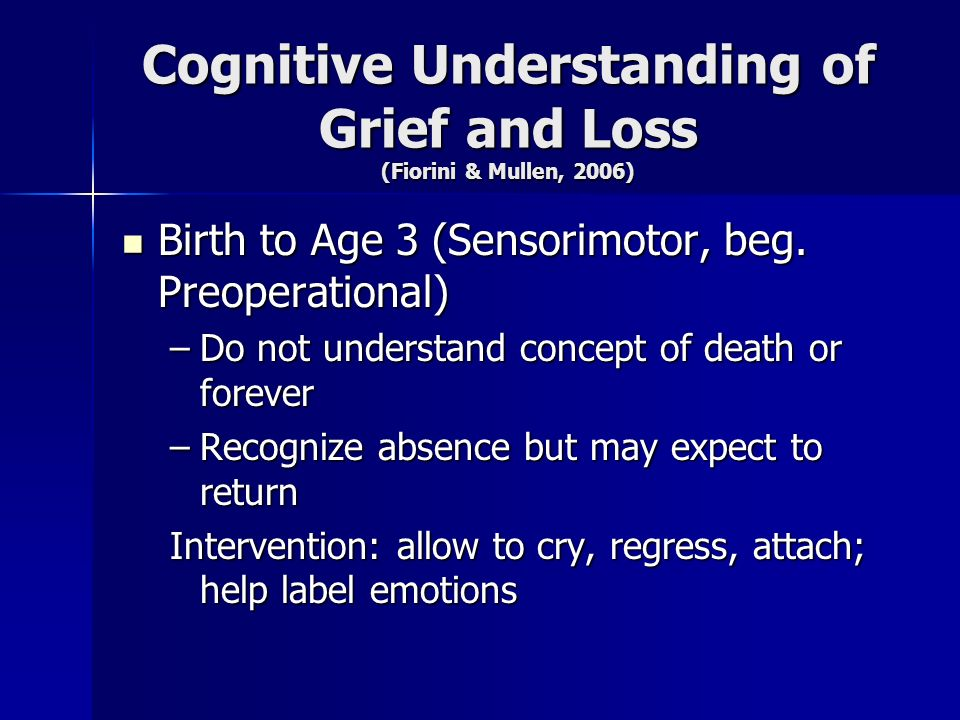 Cognitive Understanding of Grief and Loss (Fiorini & Mullen, 2006) Birth to Age 3 (Sensorimotor, beg. Preoperational) Birth to Age 3 (Sensorimotor, be