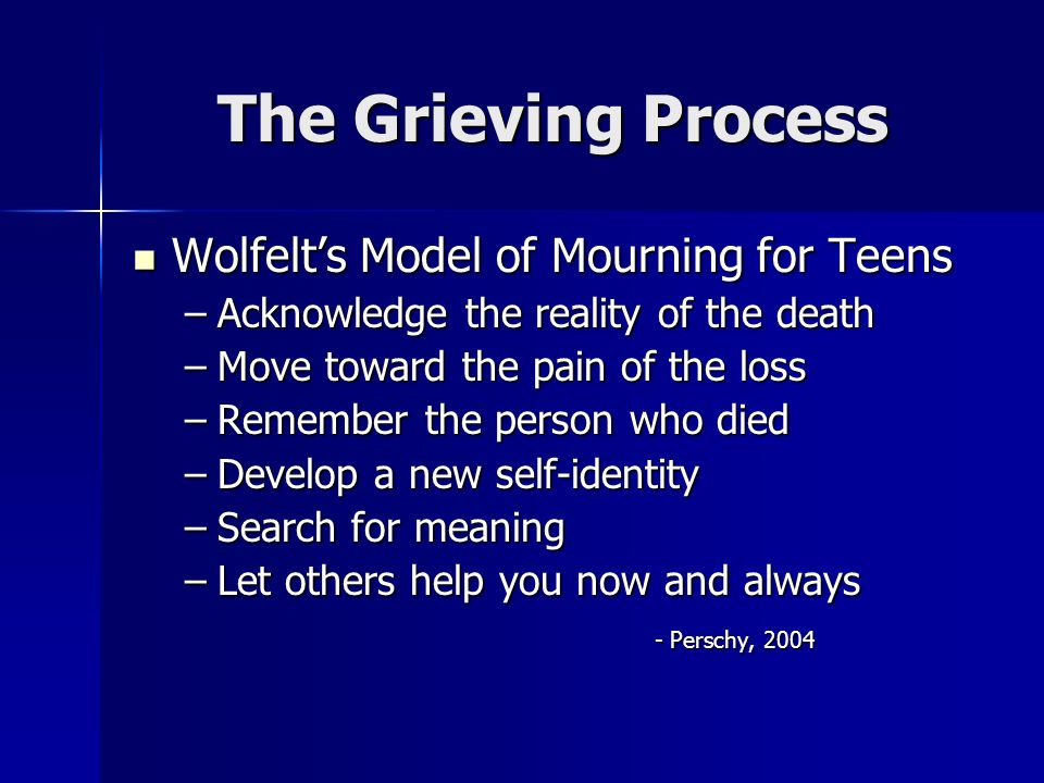 The Grieving Process Wolfelts Model of Mourning for Teens Wolfelts Model of Mourning for Teens –Acknowledge the reality of the death –Move toward the