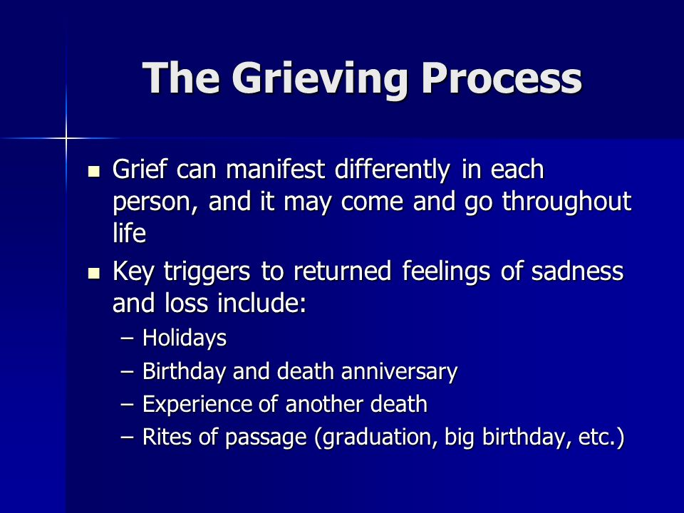 The Grieving Process Grief can manifest differently in each person, and it may come and go throughout life Grief can manifest differently in each pers