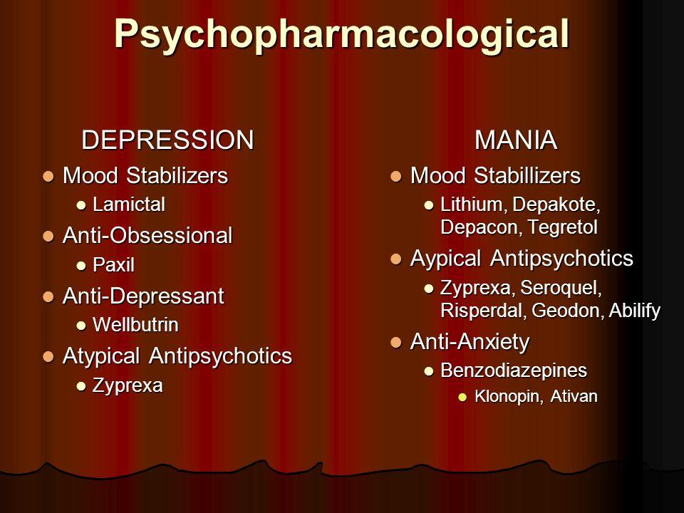 PsychopharmacologicalDEPRESSION Mood Stabilizers Mood Stabilizers Lamictal Lamictal Anti-Obsessional Anti-Obsessional Paxil Paxil Anti-Depressant Anti
