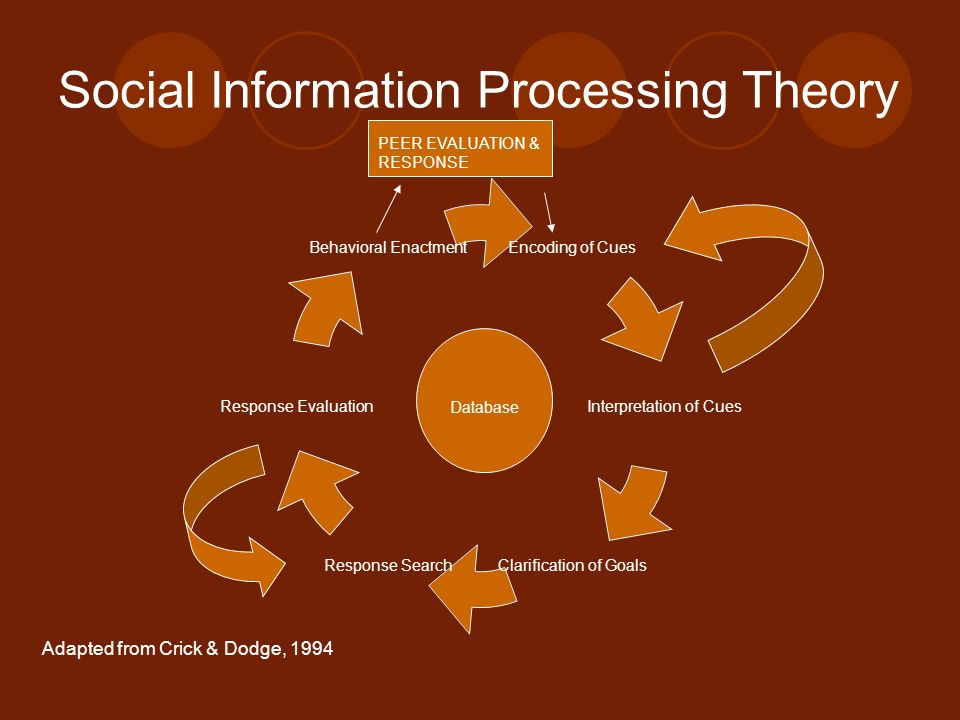 Social Information Processing Theory Encoding of Cues Interpretation of Cues Clarification of Goals Response Search Response Evaluation Behavioral Ena