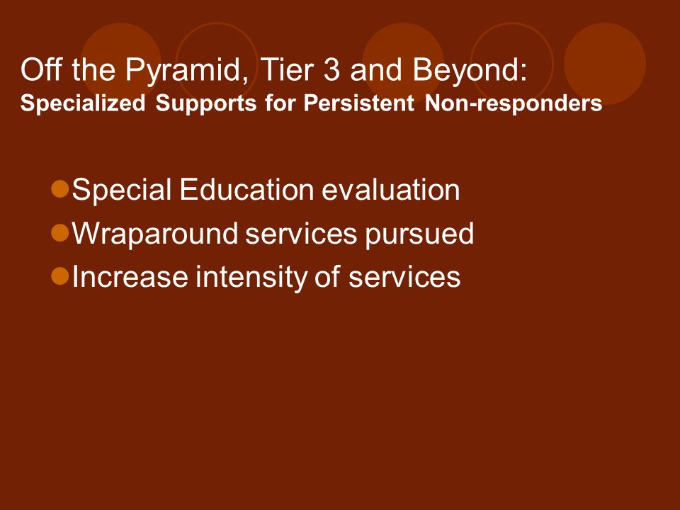 Off the Pyramid, Tier 3 and Beyond: Specialized Supports for Persistent Non-responders Special Education evaluation Wraparound services pursued Increa
