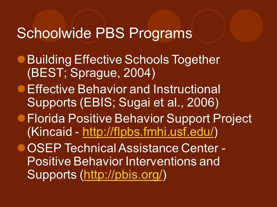 Schoolwide PBS Programs Building Effective Schools Together (BEST; Sprague, 2004) Effective Behavior and Instructional Supports (EBIS; Sugai et al., 2