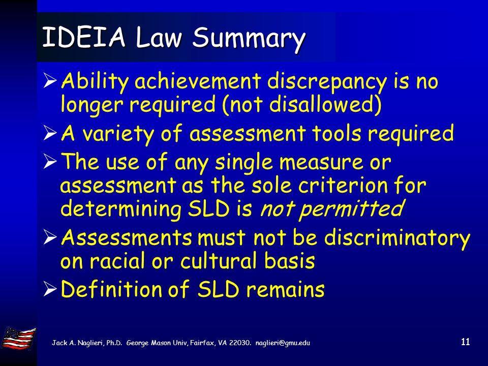 Jack A. Naglieri, Ph.D. George Mason Univ, Fairfax, VA 22030. naglieri@gmu.edu 10 IDEIA 2004 Law non discriminatory assessments valid and reliable ass