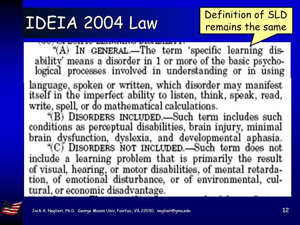 Jack A. Naglieri, Ph.D. George Mason Univ, Fairfax, VA 22030. naglieri@gmu.edu 11 IDEIA Law Summary Ability achievement discrepancy is no longer requi