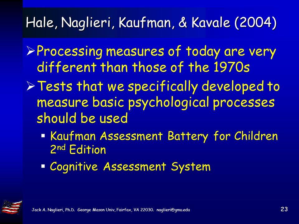 Jack A. Naglieri, Ph.D. George Mason Univ, Fairfax, VA 22030. naglieri@gmu.edu 22 Hale, Naglieri, Kaufman, & Kavale (2004) The method of RTI is discon