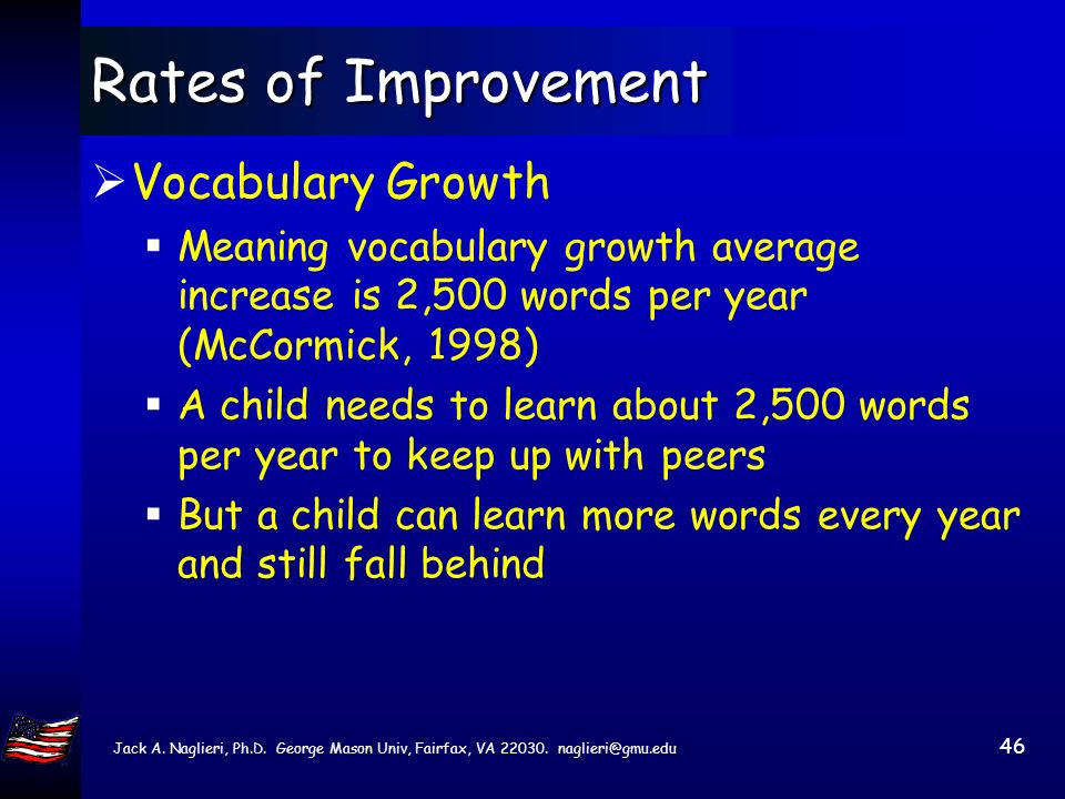 45 Rates of Improvement An Achievement Example