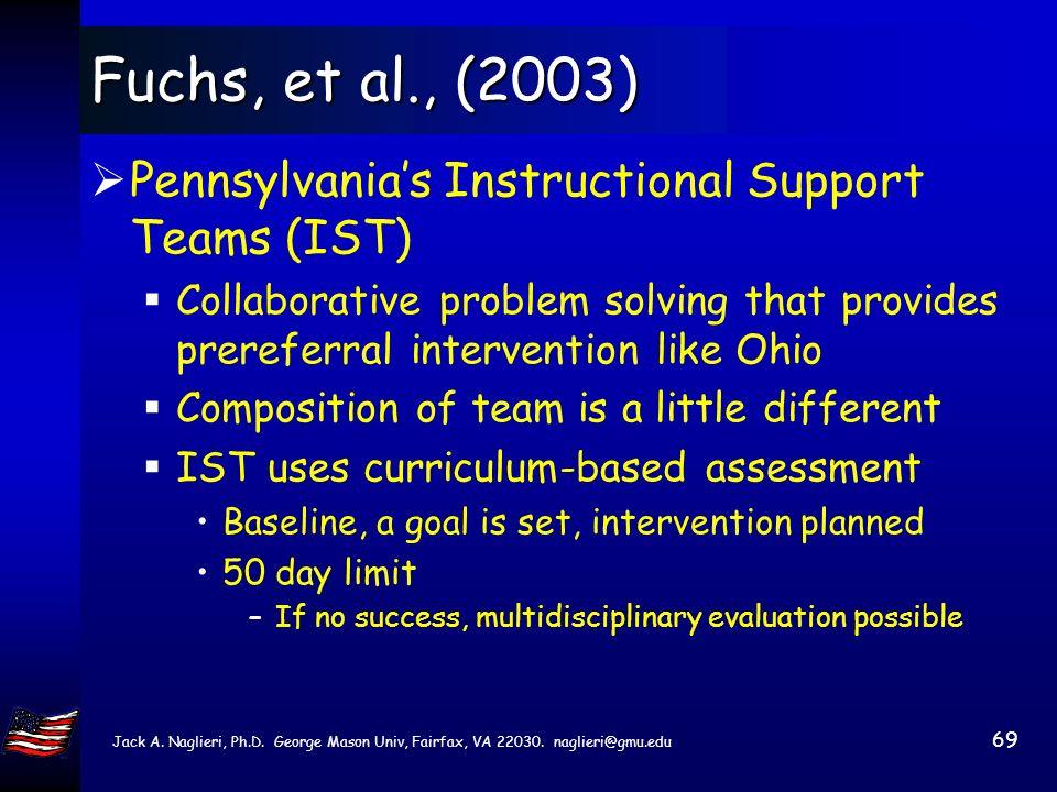 Jack A. Naglieri, Ph.D. George Mason Univ, Fairfax, VA 22030. naglieri@gmu.edu 68 Fuchs, et al., (2003) Telzrow,et al., 2000 evaluated the IBA program