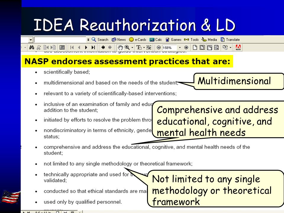 Jack A. Naglieri, Ph.D. George Mason Univ, Fairfax, VA 22030. naglieri@gmu.edu 80 IDEA Reauthorization & LD Select assessment methods that include mul