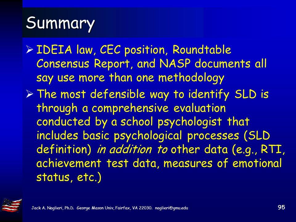 Jack A. Naglieri, Ph.D. George Mason Univ, Fairfax, VA 22030. naglieri@gmu.edu 94 Summary School Psychology is a field that is diverse and diversity i