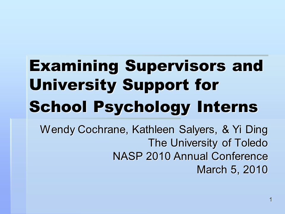 1 Examining Supervisors and University Support for School Psychology Interns Wendy Cochrane, Kathleen Salyers, & Yi Ding The University of Toledo NASP 2010 Annual Conference March 5, 2010