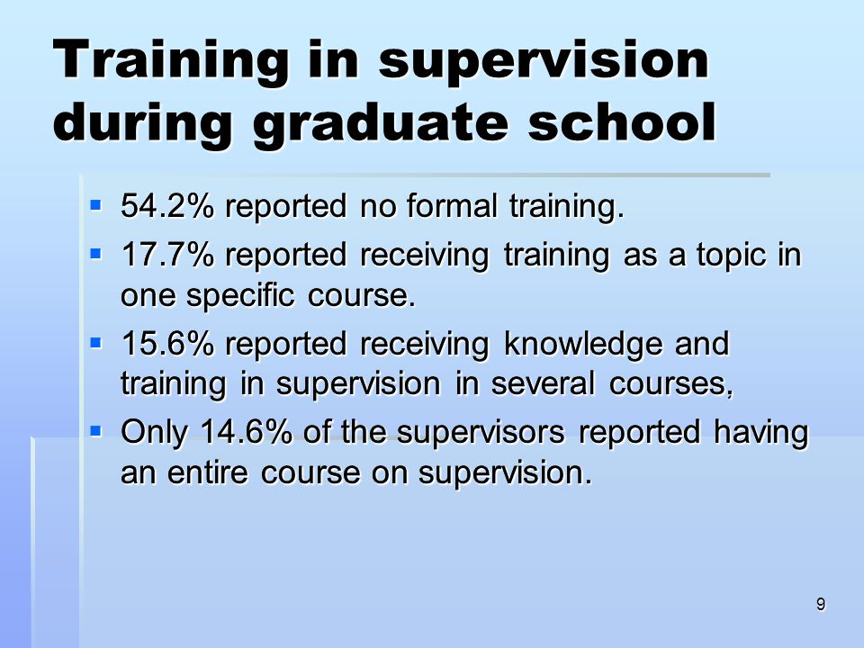 9 Training in supervision during graduate school 54.2% reported no formal training 54.2% reported no formal training 17.7% reported receiving training as a topic in one specific course 17.7% reported receiving training as a topic in one specific course 15.6% reported receiving knowledge and training in supervision in several courses, 15.6% reported receiving knowledge and training in supervision in several courses, Only 14.6% of the supervisors reported having an entire course on supervision Only 14.6% of the supervisors reported having an entire course on supervision 54.2% reported no formal training.