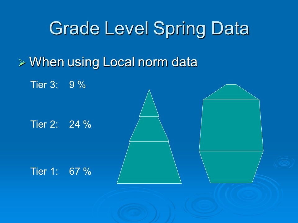 Grade Level Spring Data When using Local norm data When using Local norm data Tier 3: 9 % Tier 2: 24 % Tier 1: 67 %