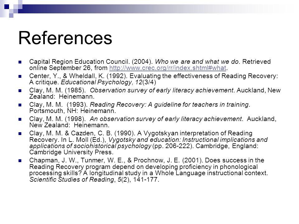 References Capital Region Education Council. (2004).