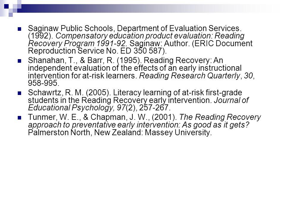 Saginaw Public Schools, Department of Evaluation Services.
