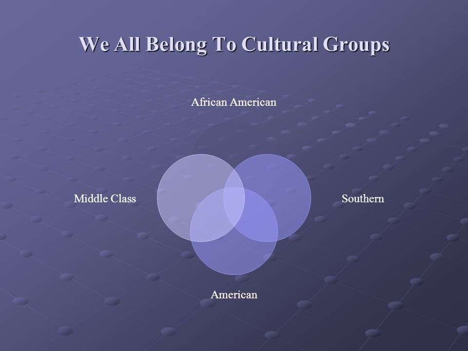 We All Belong To Cultural Groups African American Southern American Middle Class