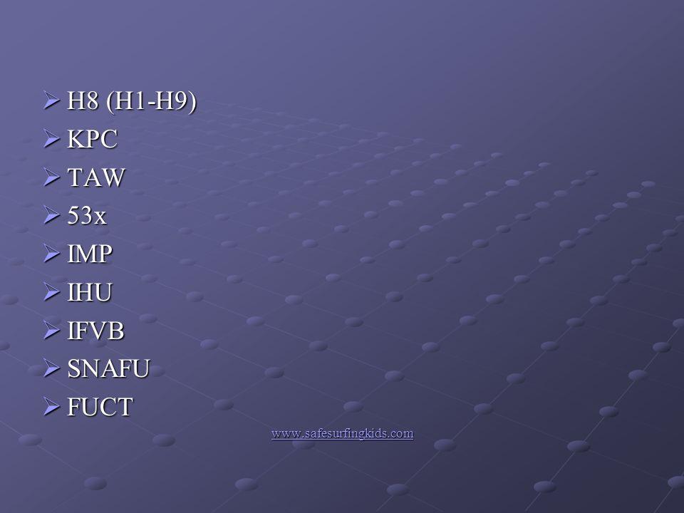 H8 (H1-H9) H8 (H1-H9) KPC KPC TAW TAW 53x 53x IMP IMP IHU IHU IFVB IFVB SNAFU SNAFU FUCT FUCT www.safesurfingkids.com