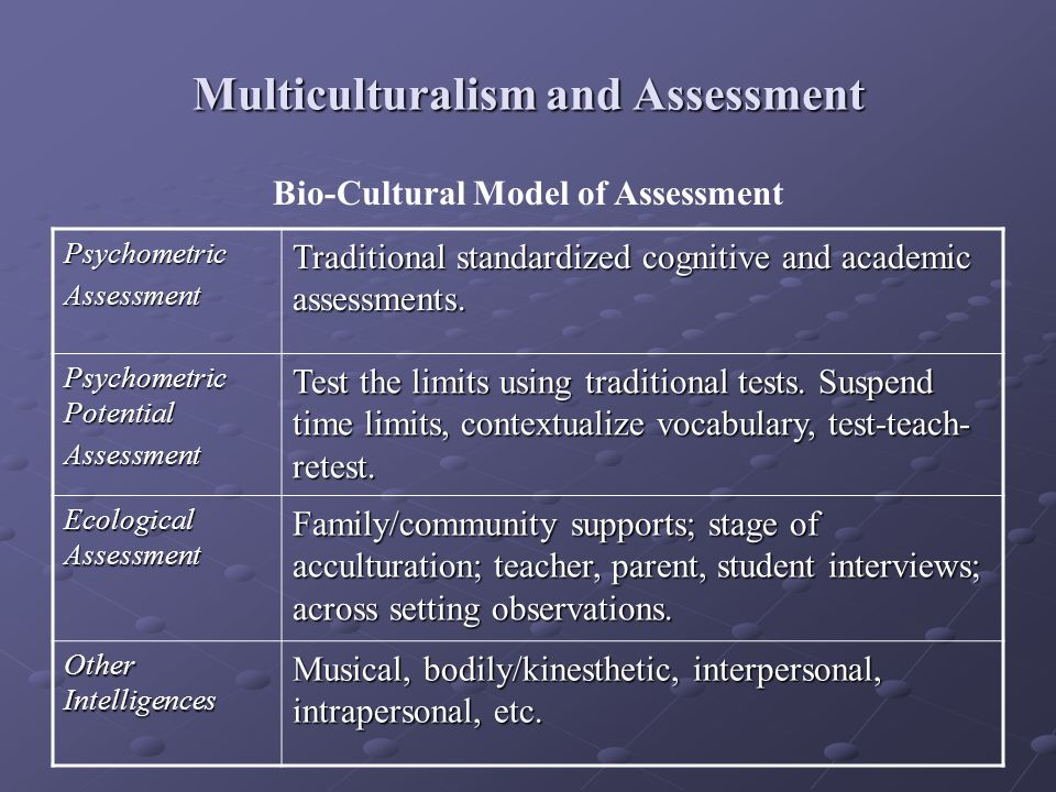Multiculturalism and Assessment PsychometricAssessment Traditional standardized cognitive and academic assessments. Psychometric Potential Assessment