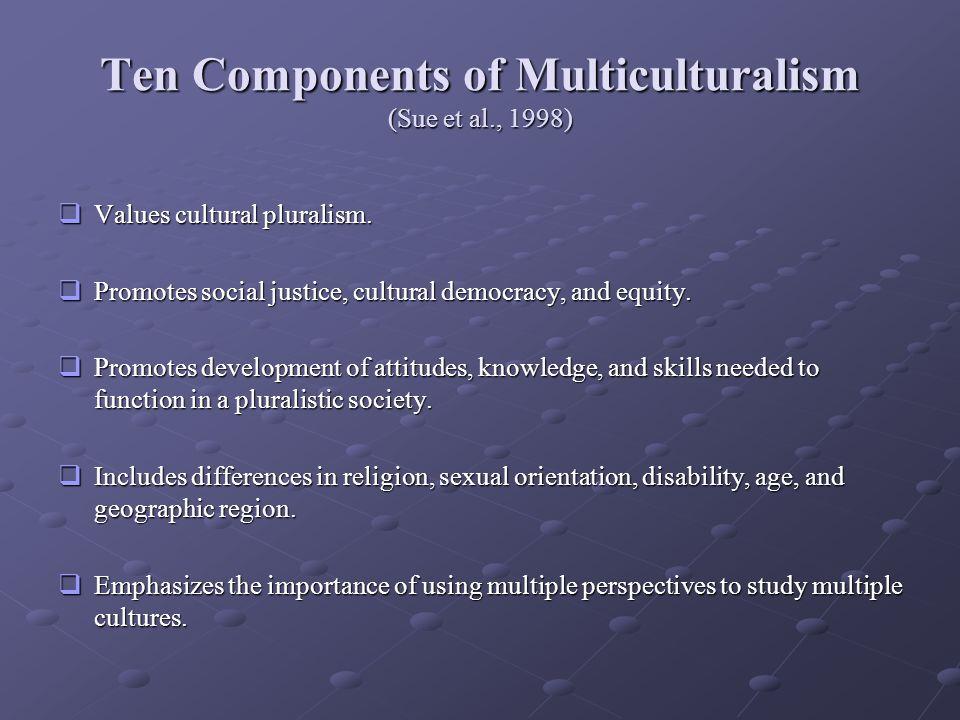 Ten Components of Multiculturalism (Sue et al., 1998) Values cultural pluralism.