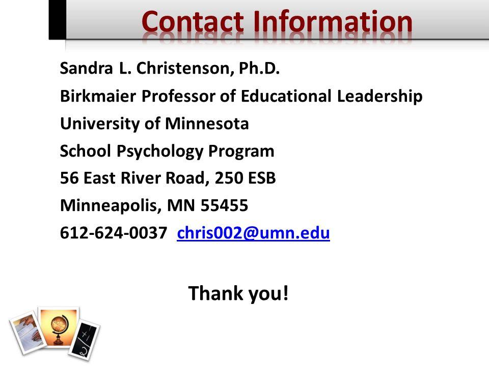 Sandra L. Christenson, Ph.D.