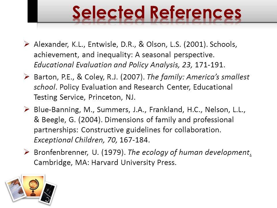 Alexander, K.L., Entwisle, D.R., & Olson, L.S. (2001).