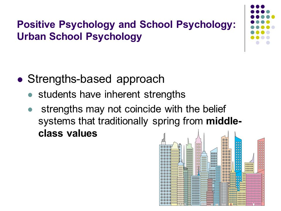 Positive Psychology and School Psychology: Urban School Psychology Strengths-based approach students have inherent strengths strengths may not coincid