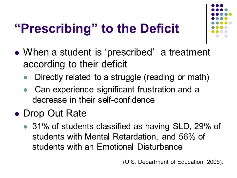Prescribing to the Deficit When a student is prescribed a treatment according to their deficit Directly related to a struggle (reading or math) Can ex