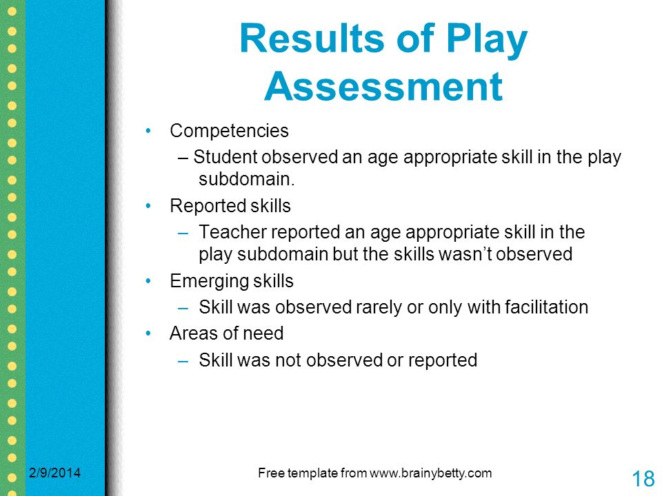 Results of Play Assessment Competencies – Student observed an age appropriate skill in the play subdomain.