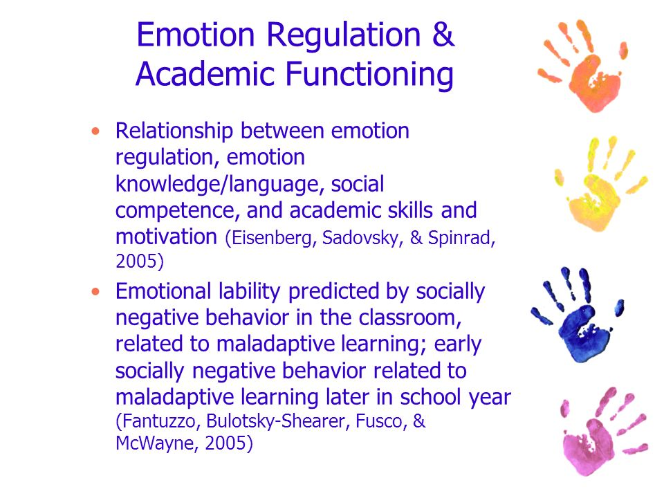 Emotion Regulation & Academic Functioning Relationship between emotion regulation, emotion knowledge/language, social competence, and academic skills