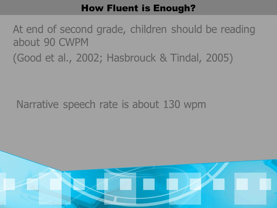 How Fluent is Enough? At end of second grade, children should be reading about 90 CWPM (Good et al., 2002; Hasbrouck & Tindal, 2005) Narrative speech