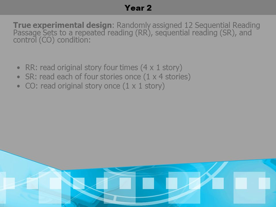 Year 2 True experimental design: Randomly assigned 12 Sequential Reading Passage Sets to a repeated reading (RR), sequential reading (SR), and control