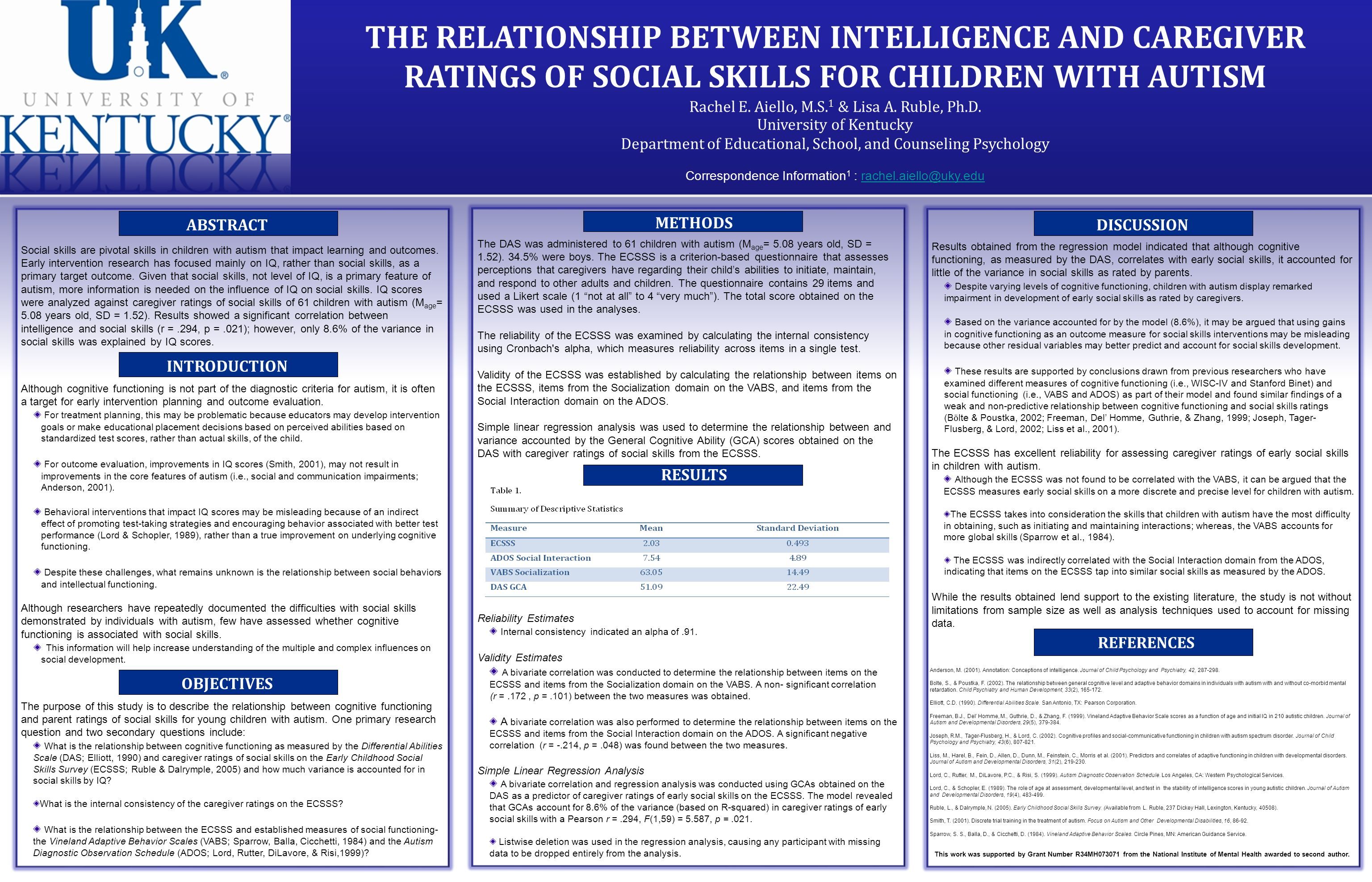 THE RELATIONSHIP BETWEEN INTELLIGENCE AND CAREGIVER RATINGS OF SOCIAL SKILLS FOR CHILDREN WITH AUTISM Rachel E.