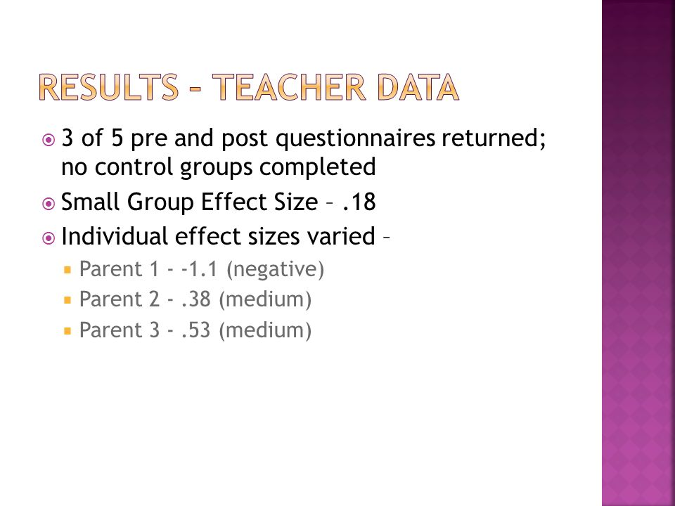 3 of 5 pre and post questionnaires returned; no control groups completed Small Group Effect Size –.18 Individual effect sizes varied – Parent (negative) Parent (medium) Parent (medium)
