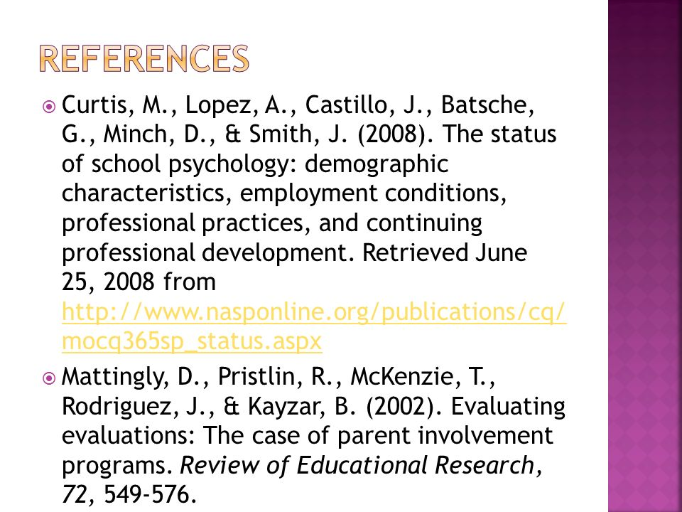 Curtis, M., Lopez, A., Castillo, J., Batsche, G., Minch, D., & Smith, J. (2008). The status of school psychology: demographic characteristics, employm