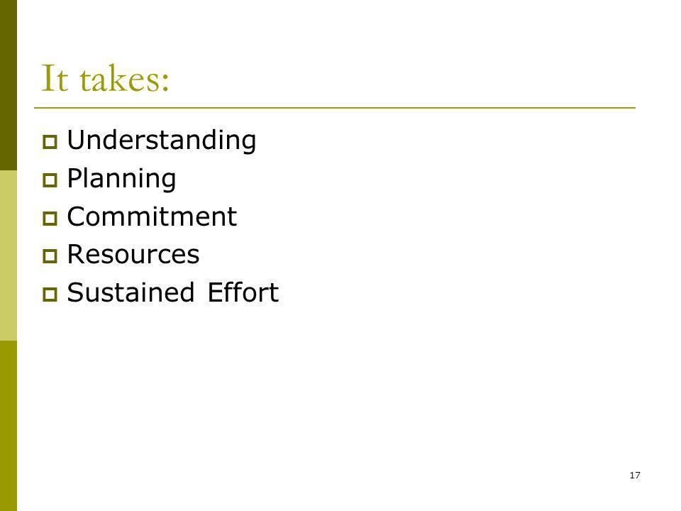 17 It takes: Understanding Planning Commitment Resources Sustained Effort
