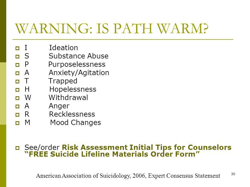 30 WARNING: IS PATH WARM.