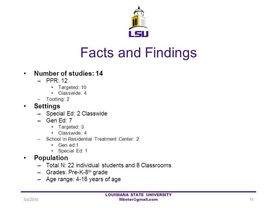 Facts and Findings Number of studies: 14 –PPR: 12 Targeted: 10 Classwide: 4 –Tootling: 2 Settings –Special Ed: 2 Classwide –Gen Ed: 7 Targeted: 3 Clas