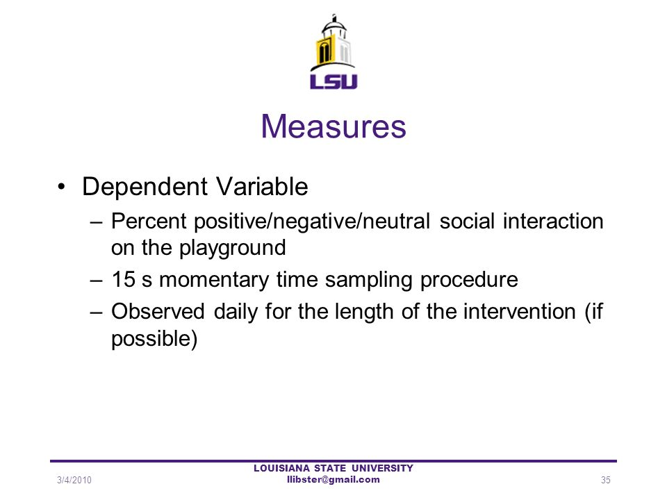 Measures Dependent Variable –Percent positive/negative/neutral social interaction on the playground –15 s momentary time sampling procedure –Observed
