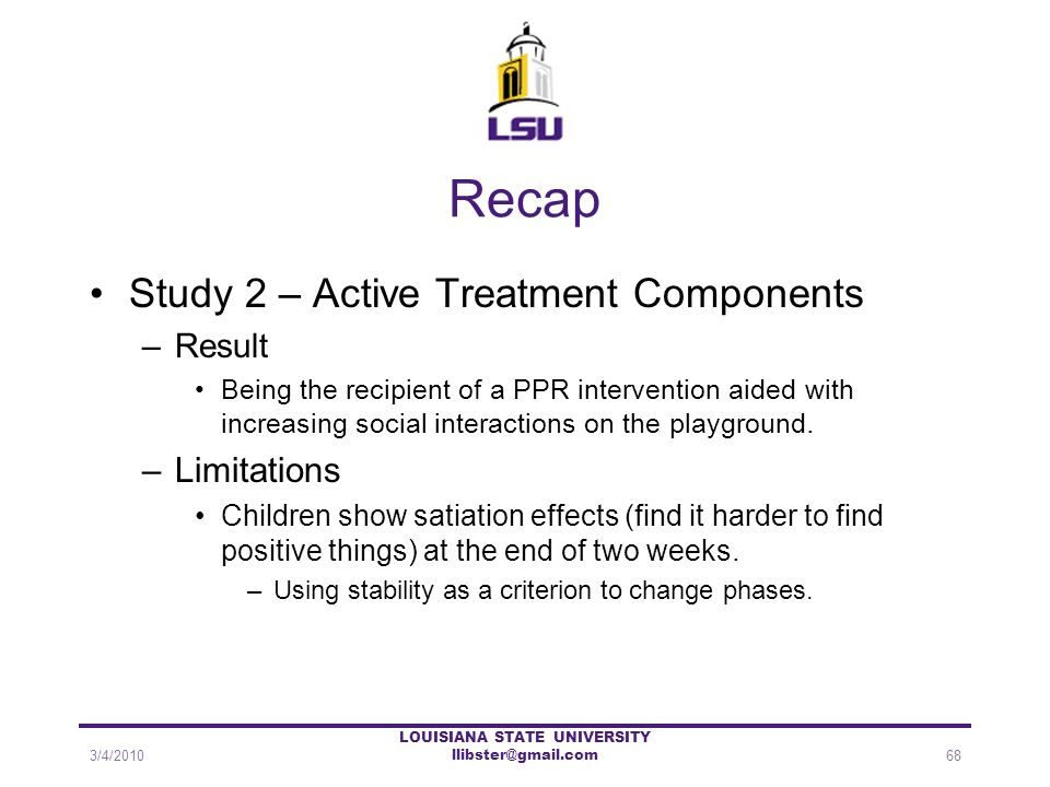 Recap Study 2 – Active Treatment Components –Result Being the recipient of a PPR intervention aided with increasing social interactions on the playgro