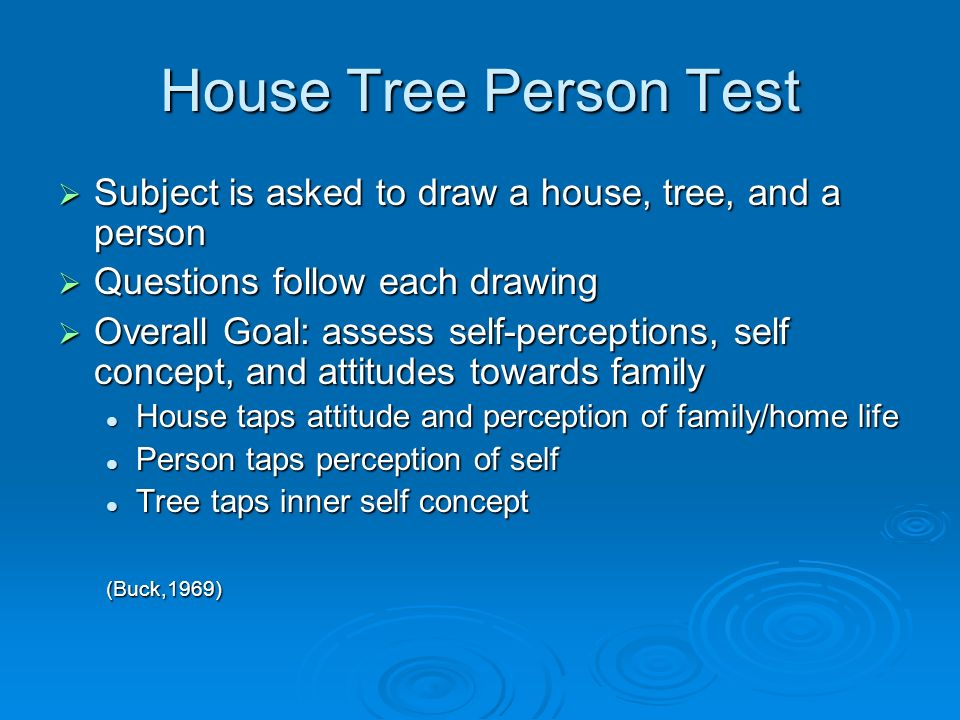 House Tree Person Test Subject is asked to draw a house, tree, and a person Subject is asked to draw a house, tree, and a person Questions follow each drawing Questions follow each drawing Overall Goal: assess self-perceptions, self concept, and attitudes towards family Overall Goal: assess self-perceptions, self concept, and attitudes towards family House taps attitude and perception of family/home life House taps attitude and perception of family/home life Person taps perception of self Person taps perception of self Tree taps inner self concept Tree taps inner self concept(Buck,1969)