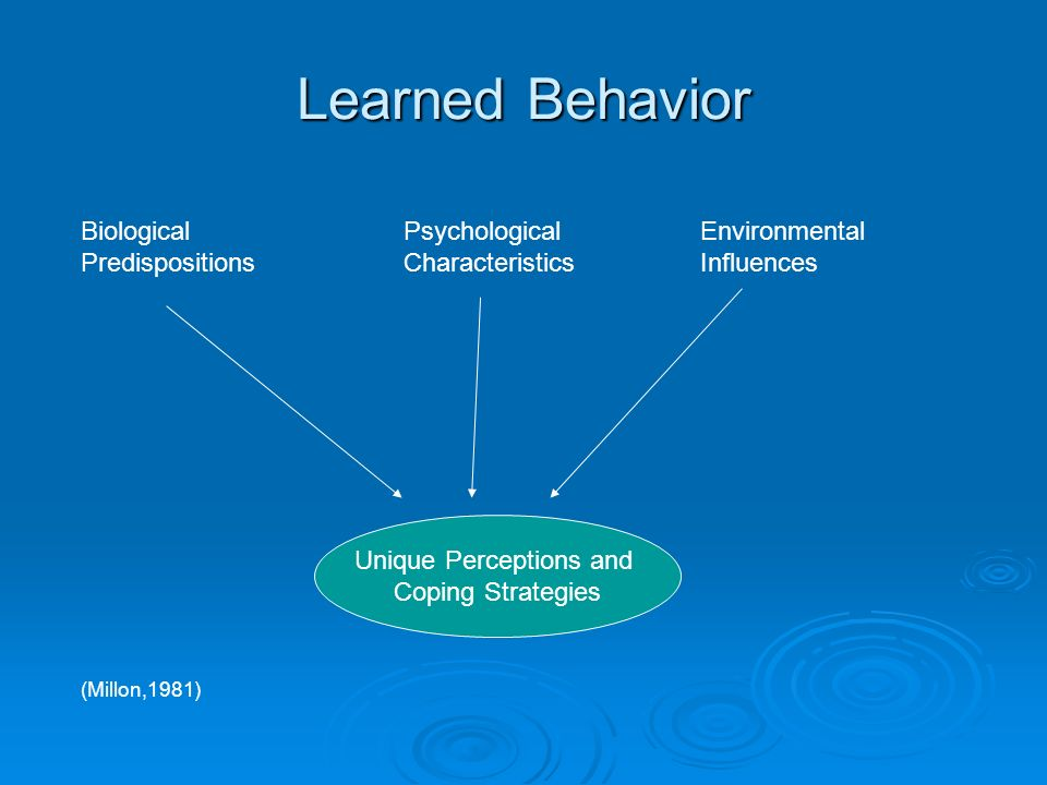 Learned Behavior Biological Predispositions Psychological Characteristics Environmental Influences Unique Perceptions and Coping Strategies (Millon,1981)