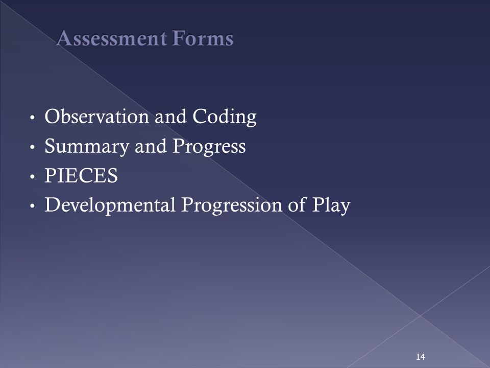 Observation and Coding Summary and Progress PIECES Developmental Progression of Play 14